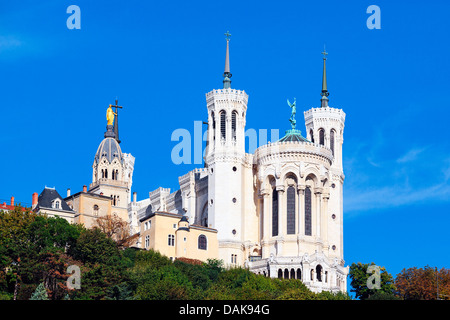 Basilica of Notre-Dame de Fourviere in Lyon, France - Stock Photo