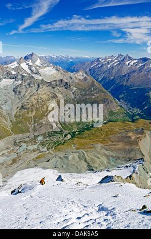 climber on The Matterhorn (4478m); Zermatt; Swiss Alps; Switzerland; Europe (MR) - Stock Photo
