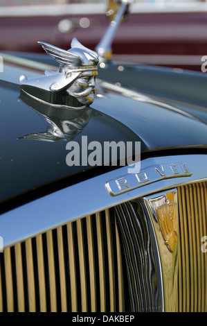 Viking Head statue and Rover emblem on a classic car - Stock Photo