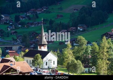 Europe, Swiss Alps, Switzerland, Bernese Oberland, Lauterbrunnen Valley, church, Unesco - Stock Photo