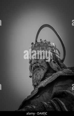 Closeup of a statue of Stephen I of Hungary at the Fisherman's Bastion in Budapest - Stock Photo