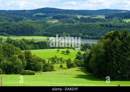 panoramic view on the storage lake Ehreshoven, Germany, North Rhine-Westphalia, Bergisches Land