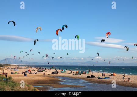 Kite surfer at the beach, Spain, Andalusia, Valdevaqueros, Tarifa - Stock Photo