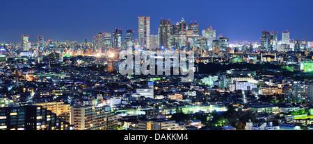 Tokyo, Japan Panorama looking towards the Shinjuku financial district from the Ebisu district. - Stock Photo