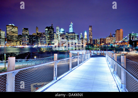 Lower Manhattan skyline viewed from Brooklyn in New York City. - Stock Photo