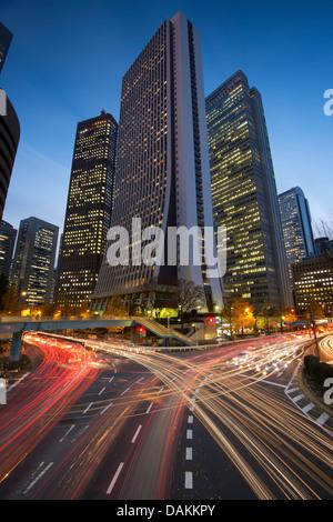 Tokyo, Japan financial district at Shinjuku. - Stock Photo
