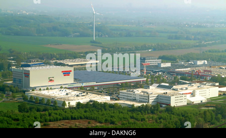 aerial view of a commercial areas in a field and forest landscape, Germany, North Rhine-Westphalia, Ruhr Area, Witten - Stock Photo