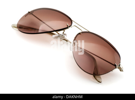 Brown aviator style sunglasses isolated on white - Stock Photo