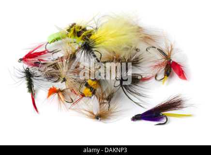 Various fly fishing lures - nymphs, dry flies and streamers isolated on white - Stock Photo