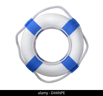 White life buoy isolated on white - Stock Photo