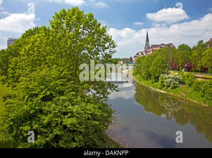 view along river Lippe to the Lippe bridge and the St. Mary's Church, Germany, North Rhine-Westphalia, Luenen - Stock Photo
