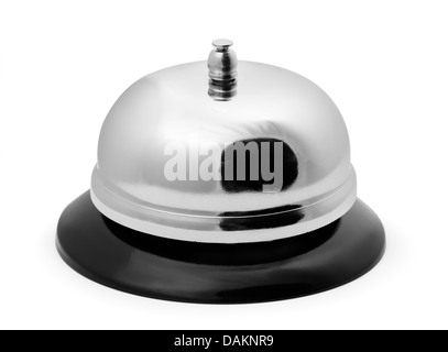 Shiny service ring bell isolated on white - Stock Photo