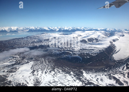 view from the northern end of Baffin Island onto Bylot Island, Canada, Nunavut, Bylot Island - Stock Photo