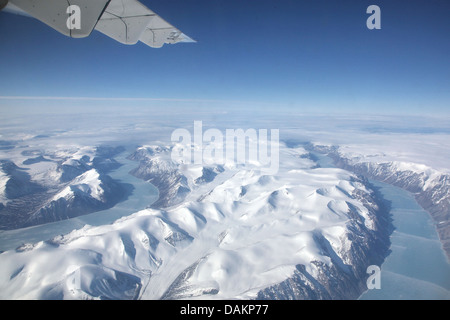 aereal view of the fjords of Baffin Island, Canada, Nunavut, Baffin Island - Stock Photo