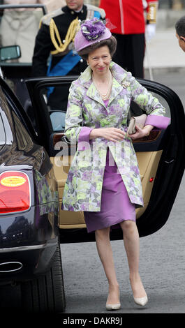Princess Anne arrives at Westminster Abbey for the wedding ceremony of Prince William and Kate Middleton in London, - Stock Photo