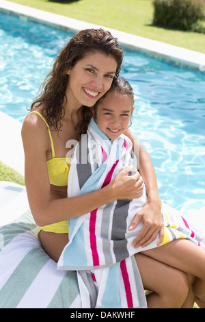 Mother and daughter relaxing by swimming pool Stock Photo
