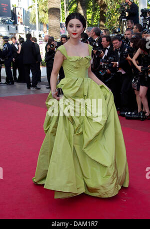 Chinese actress Fan Bingbing attends the premiere of 'The Tree Of Life' at the 64th Cannes International Film Festival - Stock Photo