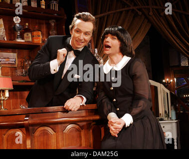 Toni and Ursli Pfister rehearse for 'Servus Peter - OhLa Lamirelle' at the Bar jeder Vernunft inBerlin,Germany, - Stock Photo