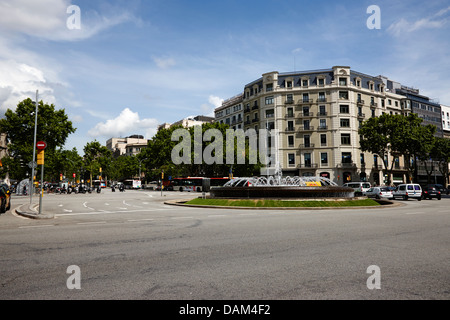 Passeig de Gracia roundabout Barcelona Catalonia Spain - Stock Photo