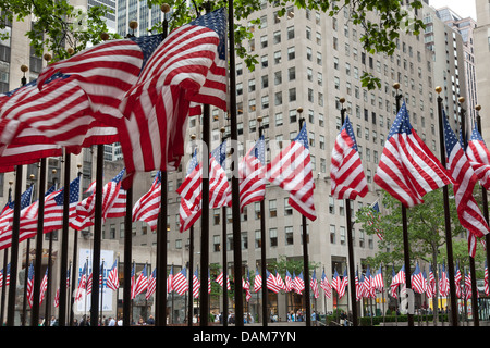 United States of America flags at Rockefeller Plaza, New York City. - Stock Photo