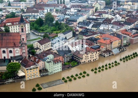 old city flooded in June 2013, Germany, Bavaria, Passau - Stock Photo
