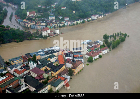 confluence of rivers Inn, Danube and Ilz in Passau flooded in June 2013, Germany, Bavaria, Passau - Stock Photo