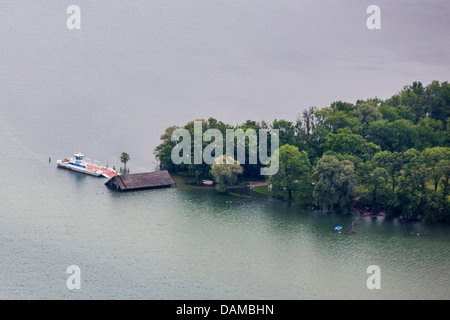 island Herreninsel in lake Chiemsee flooded in June 2013, Germany, Bavaria, Lake Chiemsee - Stock Photo