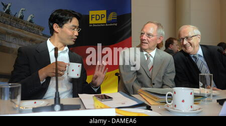 German Minister for Financial Affairs Wolfgang Schaeuble (m) talks to the German Minister for Economy Philipp Roesler - Stock Photo