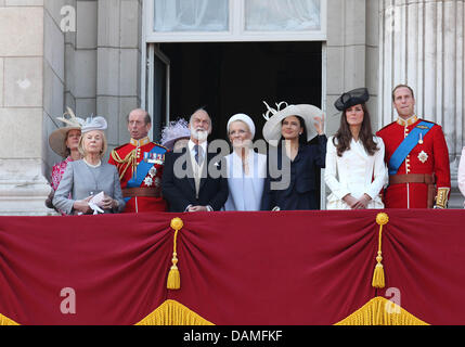 Britain's Prince William and Duchess Catherine and other members of the Royal family are attending the Trooping - Stock Photo