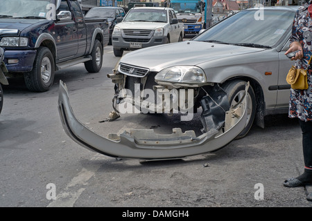 Detail of vehicle frontal damage following a car accident . Thailand S. E. Asia - Stock Photo