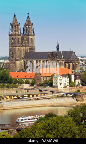 The Cathedral of Magdeburg, named Cathedral of Saint Katharina and Saint Mauritius, is pictured in Magdeburg, Germany, - Stock Photo