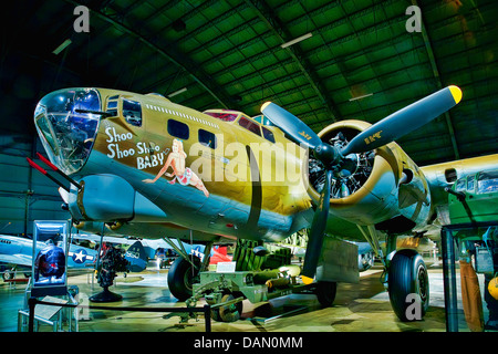 Shoo Shoo Baby is the name of a B-17 Flying Fortress in World War II, preserved and on public display at Wright - Stock Photo