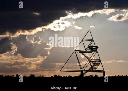clouds above Tetraeder look-out on Beckstrasse stockpile, Germany, North Rhine-Westphalia, Ruhr Area, Bottrop - Stock Photo