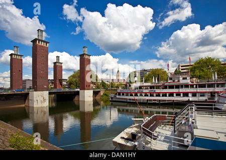 Schwanentor brigde and excursion boats in inner harbor, Germany, North Rhine-Westphalia, Ruhr Area, Duisburg - Stock Photo