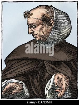 Albertus Magnus, medieval German scholar and theologian. Digitally colored woodcut - Stock Photo
