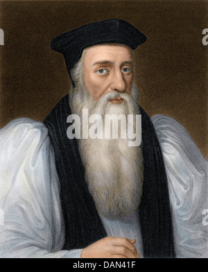 Thomas Cranmer, Archbishop of Canterbury executed for heresy under Mary I. Digitally colored steel engraving - Stock Photo