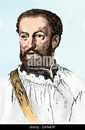 Jesuit missionary Francis Xavier. Digitally colored woodcut - Stock Photo