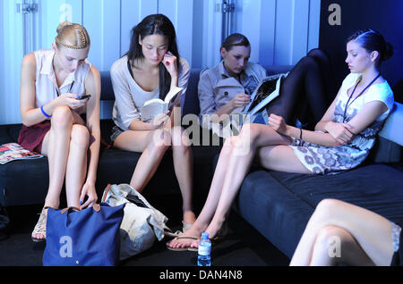 Models seen waiting backstage for their   shows during the Mercedes-Benz Fashion Week in Berlin, Germany, 07 July - Stock Photo