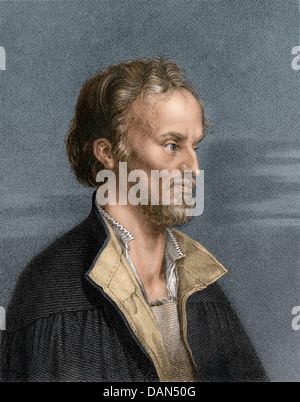 Philip Melanchthon, German religious reformer and scholar. Digitally colored engraving - Stock Photo