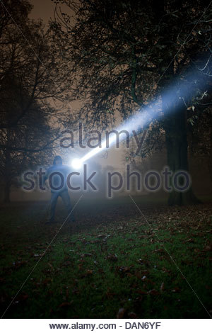 Germany, Munich, Man lighting spooky tree with torch in foggy night - Stock Photo