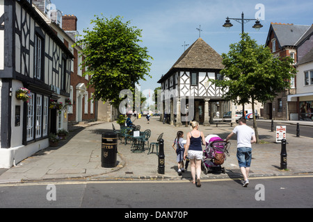 The high street at Royal Wootton Bassett in Wiltshire on a hot July afternoon. - Stock Photo
