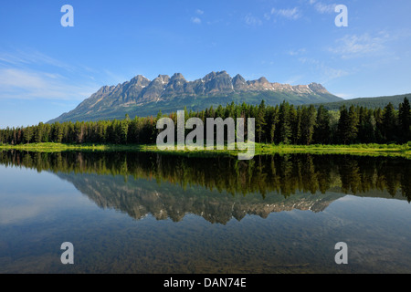 Yellowhead Mountain reflected in Whitney Lake Jasper NP Alberta Canada - Stock Photo