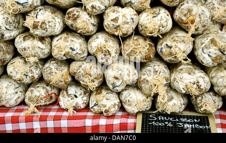 SAUCISSON FOR SALE IN A FRENCH MARKET - Stock Photo