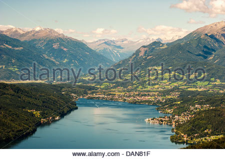 Austria, Carinthia, View of Millstatter See with Millstadt and Seeboden - Stock Photo