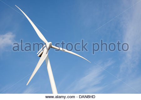 Low angle view of a wind turbine, Rostock,Mecklenburg-Vorpommern,Germany - Stock Photo