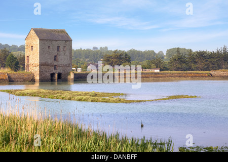 watermill at the Rance in Brittany, France - Stock Photo