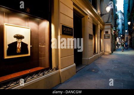 Sala Parés art gallery shop-window. Carrer Petritxol , Ghotic quarter. Barcelona. Spain. - Stock Photo