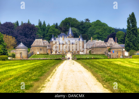 chateau de la bourbansais, Pleugueneuc, Brittany, France - Stock Photo