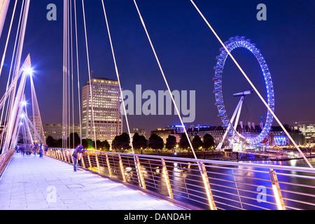 Hungerford Bridge Night London UK - Stock Photo