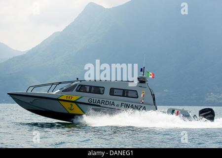 High speed patrol boat FB Design of Guardia di Finanza on Swiss/Italian border, Lake Maggiore. - Stock Photo